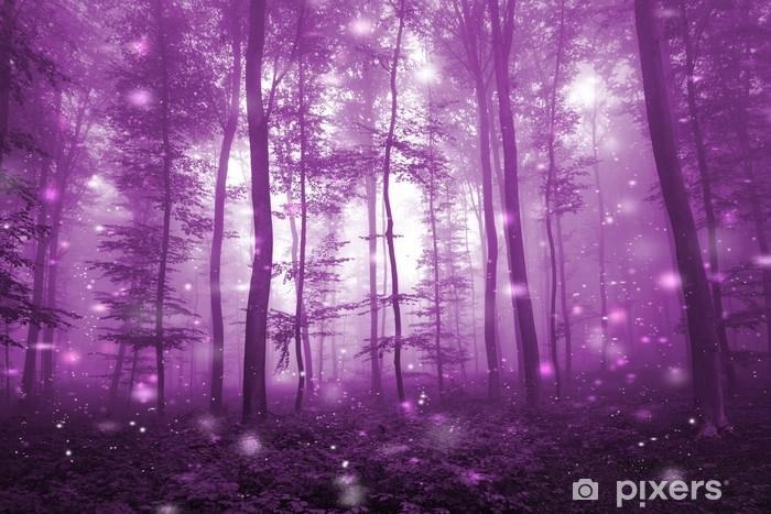Carta Da Parati Foresta Nebbiosa Di Colore Rosa Magico Con Sfondo
