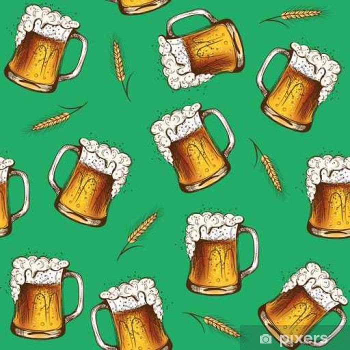 Sticker Pixerstick Beer seamless pattern. Vector illustration - Ressources graphiques