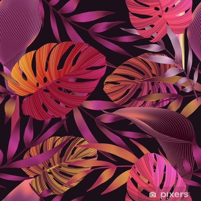 Mural de Parede em Vinil Flores tropicais, folhas selva, ave do paraíso. - Plantas e Flores