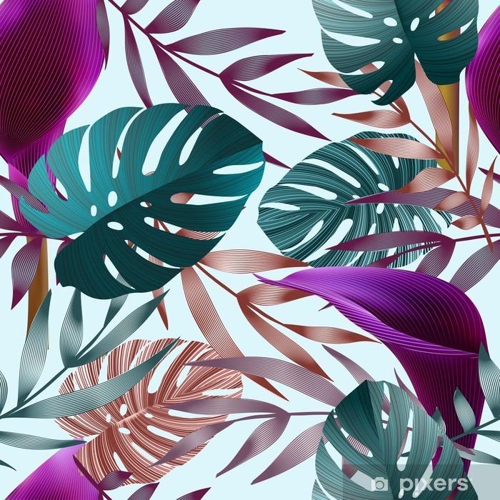Fotomural Estándar Flores tropicales, hojas de la selva, flor de ave del paraíso. - Plantas y flores