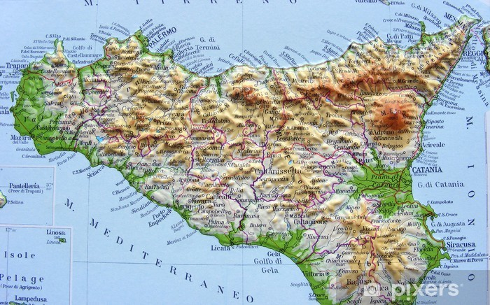 Cartina Geografica Dettagliata Della Sicilia.Carta Geografica Della Sicilia Sticker Pixerstick