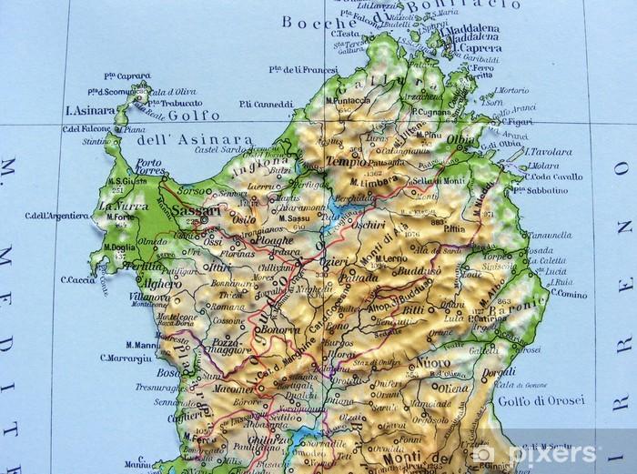 Cartina Dettagliata Sardegna.Adesivo Carta Geografica Della Sardegna Pixers Viviamo Per Il Cambiamento
