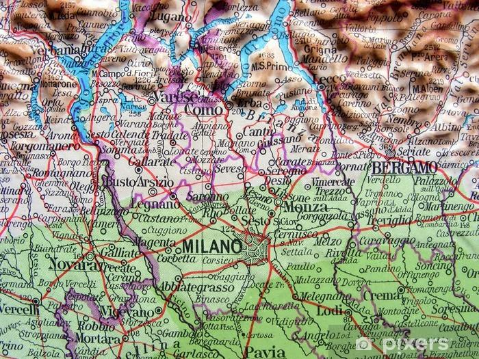 Immagini Cartina Geografica Lombardia.Carta Geografica Della Lombardia Wall Mural Pixers We Live To Change