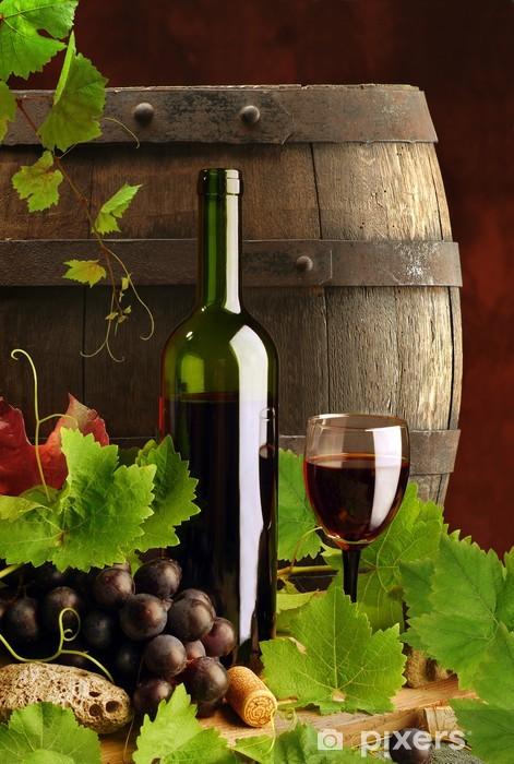 Fototapeta winylowa Czerwone wino z beczki, martwa natura - Tematy