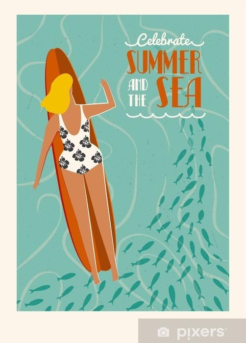 Sommer Strand Surf Plakat Med Tekst Citat Nyd Sommer Og Hav Plakat