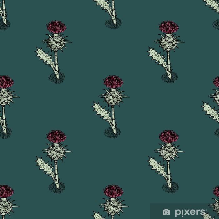 Sticker Pixerstick Seamless avec chardon - Plantes et fleurs
