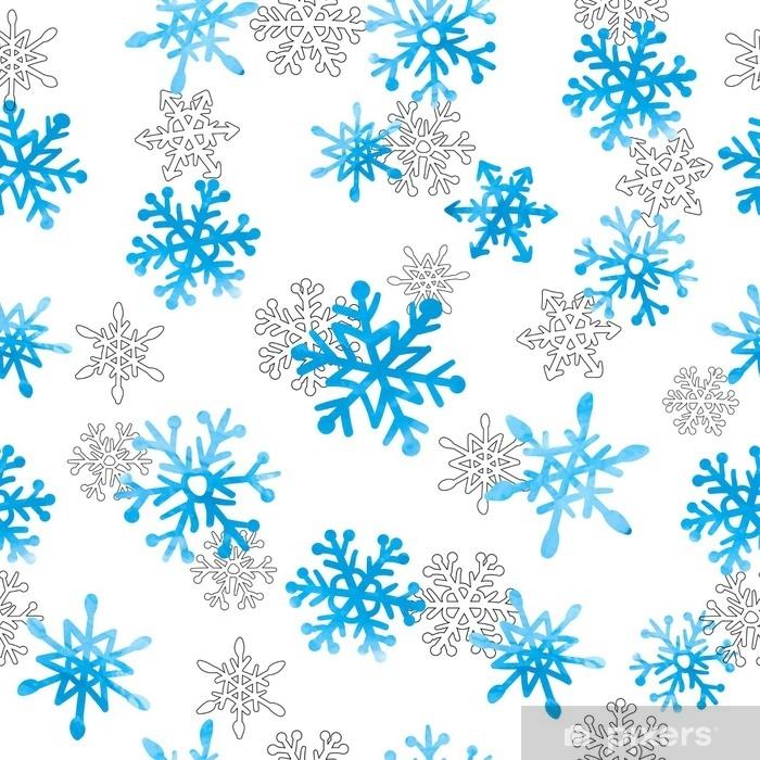 Vinilo Pixerstick Mano dibujada acuarela copos de nieve de patrones ...