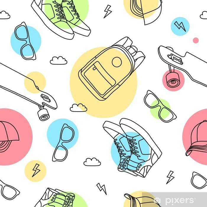 Pattern Skateboard Pixerstick Sticker - Graphic Resources