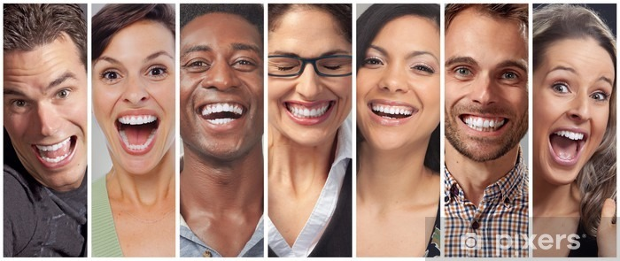 Pixerstick Sticker Gelukkige mensen gezichten set - Mensen