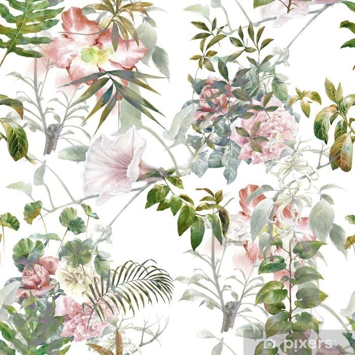 Carta da Parati in Vinile Pittura ad acquerello di foglie e fiori, seamless su sfondo bianco - Hobby e Tempo Libero