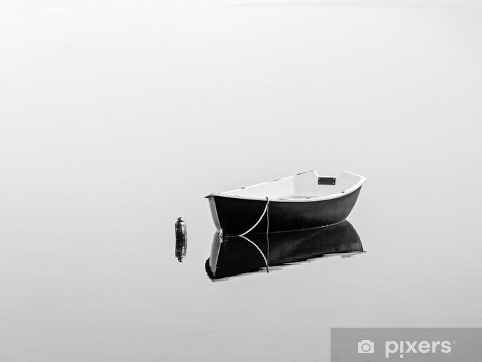 Vinyl-Fototapete Schwarz rowboat - Landschaften