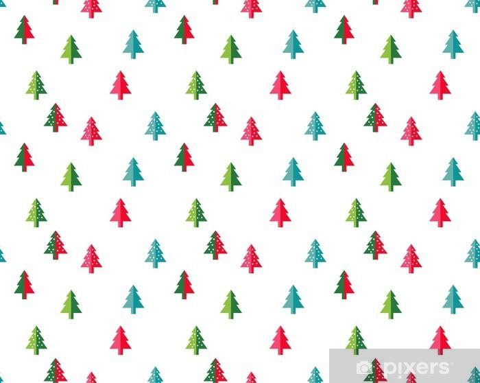 Vinyl Fotobehang Kerstboom Naadloze patroon voor het nieuwe jaar wenskaart / wallpaper achtergrond. Vector Illustratie. spar symbool. - Grafische Bronnen