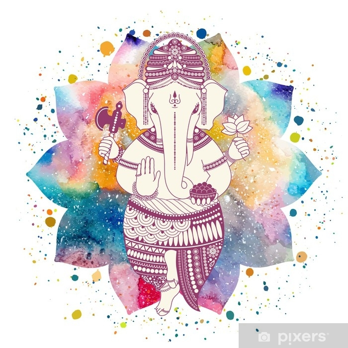 Ganesha, or Ganapati, Indian deity in the Hindu  On watercolor lotus flower  with paint splash  Vector illustration for design of prints, web, festive,