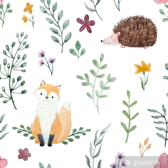 Watercolor pattern for children Vinyl Wall Mural - Animals