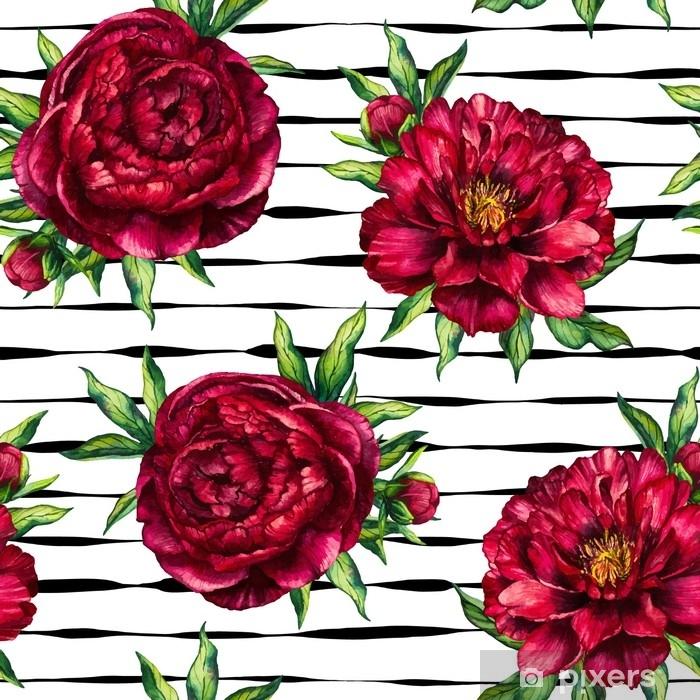 Plakat Szwu akwarela kwiat piwonia marsala na czarnym tle paski, akwarela kwiatowy i prążkowane bezszwowe tło z czerwonej piwonii na dzień kobiet, ślub, karty, wakacje, tekstylia, zaproszenia - Rośliny i kwiaty