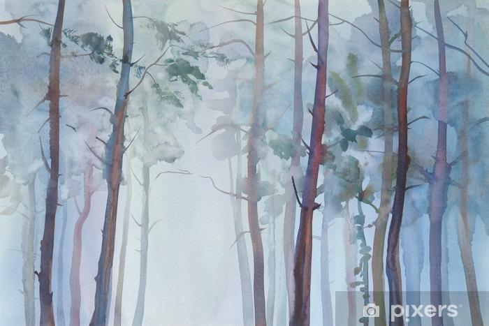 Afwasbaar Fotobehang Mistig bos aquarel achtergrond - Landschappen