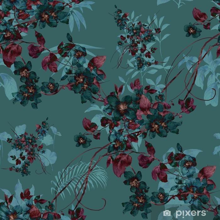 Fototapeta winylowa Akwarela liści i kwiatów, bez szwu - Hobby i rozrywka