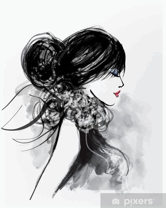 Naklejka Pixerstick Moda modelu kobieta z szalikiem - Ludzie