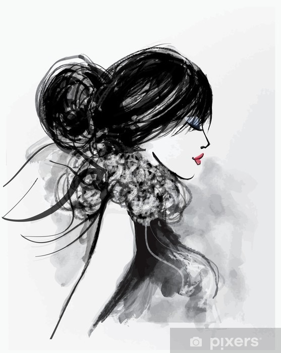 Fashion woman model with a scarf Vinyl Wall Mural - People
