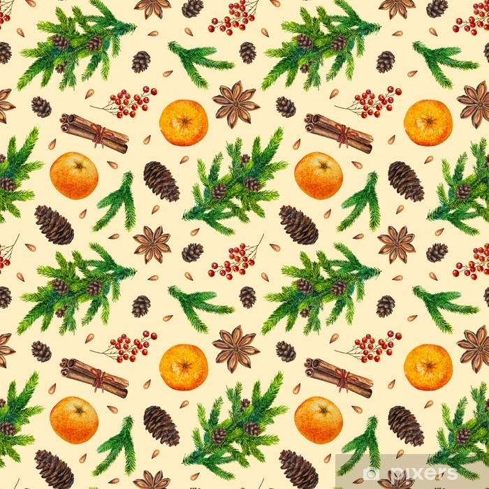 Watercolor Christmas Pattern With Fir Branches Red Berries Fir Cones Orange Cinnamon Anise Watercolour Hand Painted Seamless Christmas Background For Greeting Card Web Paper Wrapping Party Wall Mural Pixers We