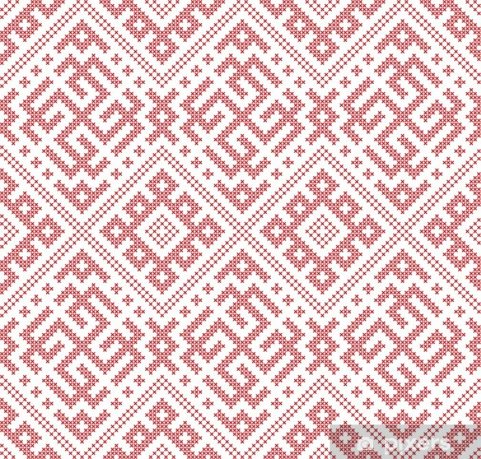 Seamless Russian folk pattern, cross-stitched embroidery imitation   Patterns consist of ancient Slavic amulets  Swatch included in vector file   Wall