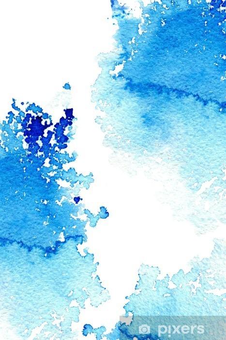 Naklejka Pixerstick Streszczenie ciemny niebieski wodniste frame.Aquatic backdrop.Ink drawing.Watercolor ręcznie rysowane image.Wet splash.White tło. - Zasoby graficzne