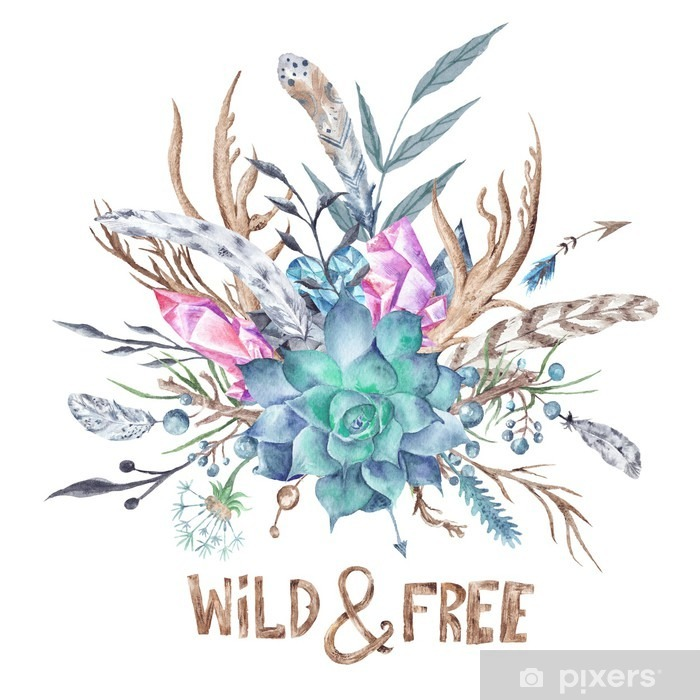 Wild and Free Boho Watercolor Illustration Poster - Hobbies and Leisure