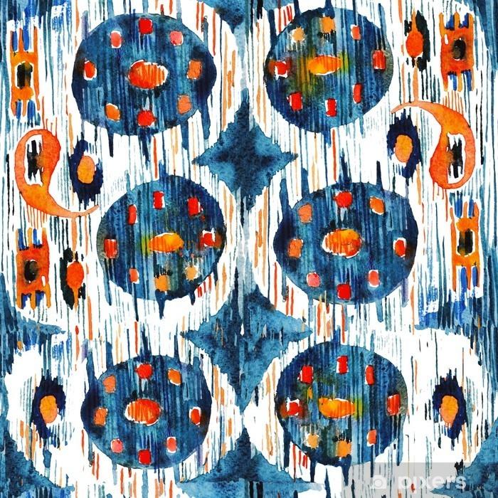 Adesivo Pixerstick Ikat modello etnico bohemien senza soluzione di continuità in stile acquerello. Acquerello ornamenti orientali. - Risorse Grafiche