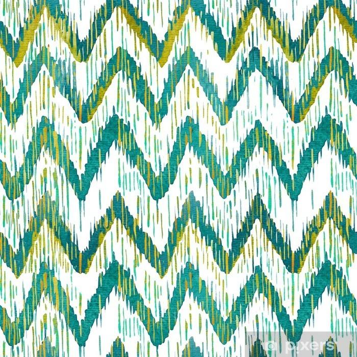 Papier Peint Aquarelle Ikat Chevron Pattern Aquarelle Vert Et Bleu