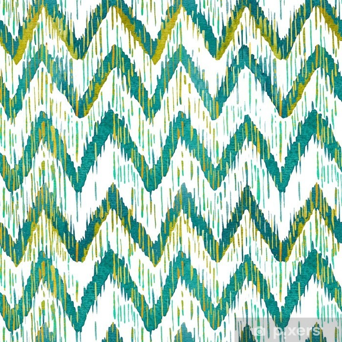 Watercolor ikat chevron seamless pattern. Green and blue watercolour . Bohemian ethnic collection. Pixerstick Sticker - Graphic Resources