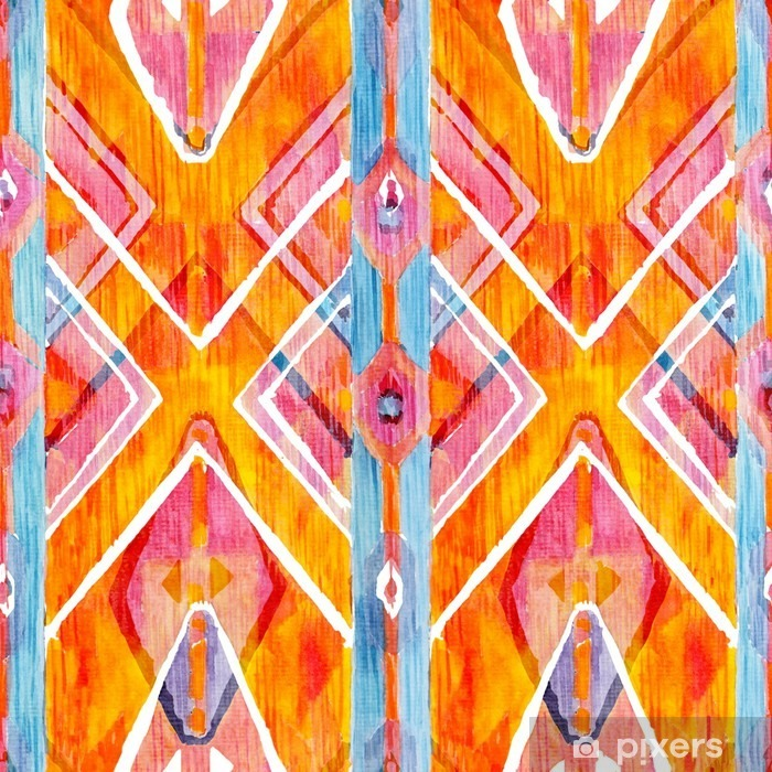 Adesivo Pixerstick Ikat geometrico rosso e arancione modello autentico in stile acquerello. Acquerello senza soluzione di continuità. - Hobby e Tempo Libero