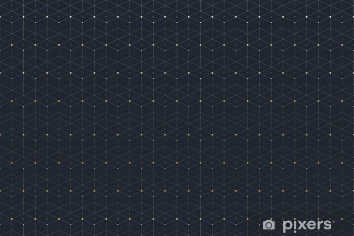 Naklejka Pixerstick Geometryczne szwu z podłączonej linii i kropek. Graphic łączność tła. Nowoczesny, stylowy wielokątne tło dla swojego projektu. ilustracji wektorowych. - Zasoby graficzne