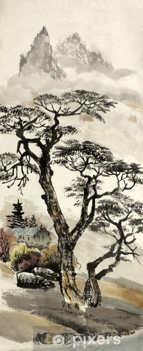 Naklejka Pixerstick Chiński krajobraz z drzewa - Hobby i rozrywka