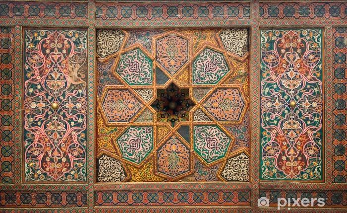 Naklejka Pixerstick Drewniany sufit, orientalne ozdoby z Khiva, Uzbekistan - Bliski Wschód