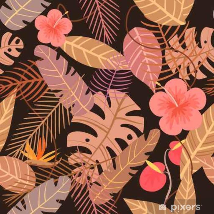 Naklejka Pixerstick Bez szwu tropikalnych wektora deseniu z kwiatów i liści palmowych na ciemnym tle - Rośliny i kwiaty