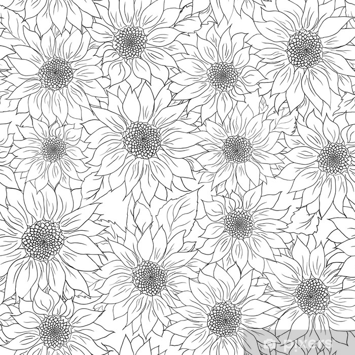posters hand drawn pattern sunflowers background flower black white packaging products.jpg