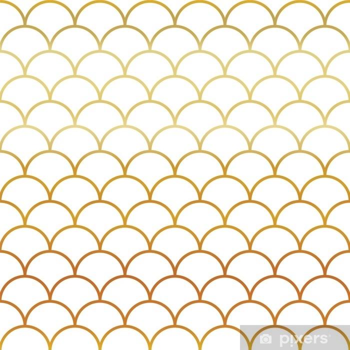 Autocolante Pixerstick Escala de ouro de peixe padrão sem costura - Recursos Gráficos