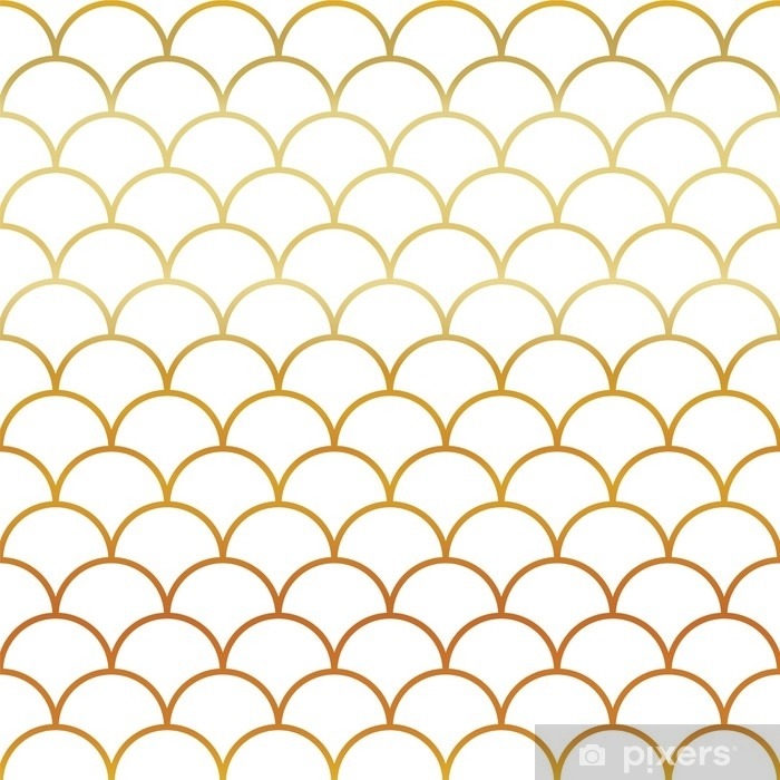 Vinilo Pixerstick Patrón sin fisuras de escamas de oro pescado - Recursos gráficos