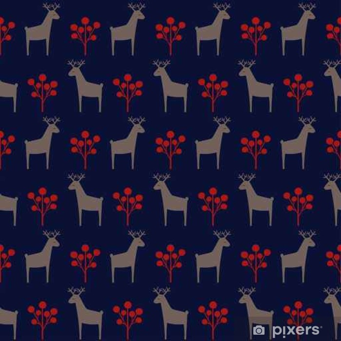 Christmas Deer With Berry Seamless Pattern Cute Cartoon Nature Background Xmas Style Animal Illustration Holiday Design For Textile Wallpaper