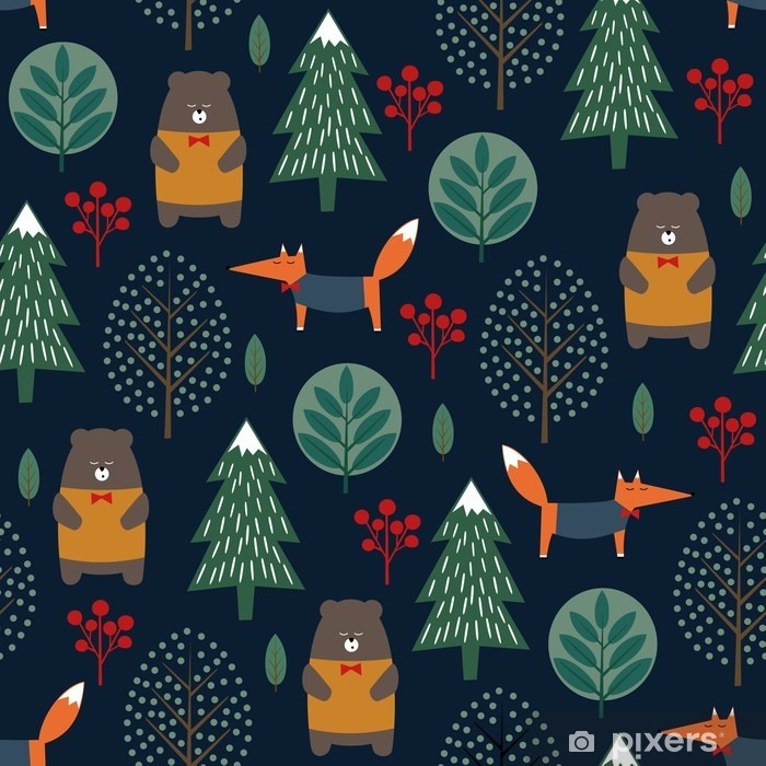 Fotomural Estándar Fox, oso, árboles y bayas sin patrón en el fondo azul oscuro. Navidad ilustración invierno estilo escandinavo. Bosque del invierno con diseño de los animales y el árbol de Navidad para las industrias textil, papel pintado, tela. - Paisajes
