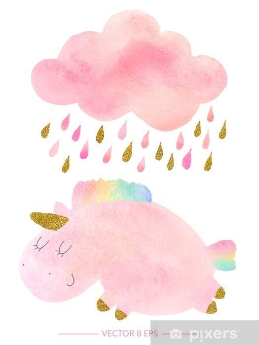 Mural de Parede em Vinil Unicorn aguarela e nuvem com chuva - Animais