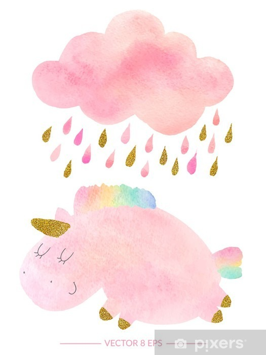 Watercolor unicorn and cloud with rain Vinyl Wall Mural - Animals