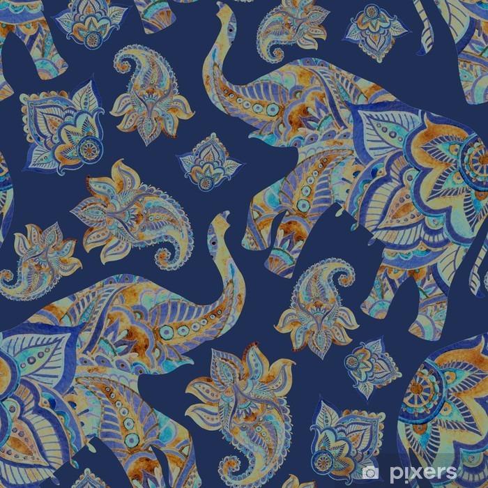 Papier peint vinyle Aquarelle éléphant ethnique avec des éléments de paisley background. - Animaux