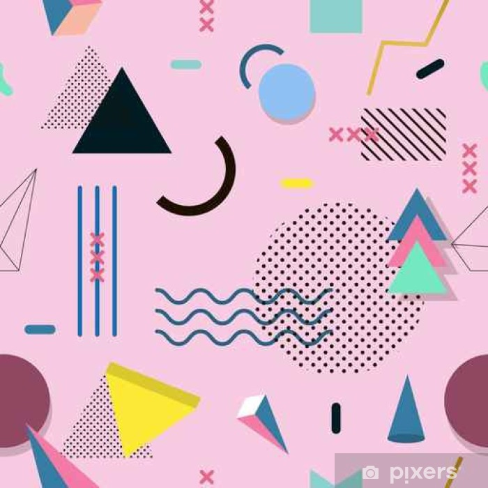 Memphis pattern of geometric shapes for tissue and postcards. Vinyl Wall Mural - Graphic Resources
