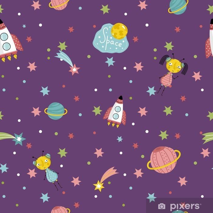 Fototapeta Space Mezihvezdny Cestuje Kresleny Bezproblemove Vzor