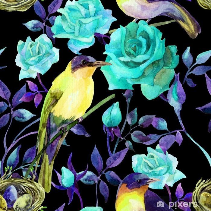Papier peint vinyle Oiseaux Aquarelle sur les roses bleues - Animaux