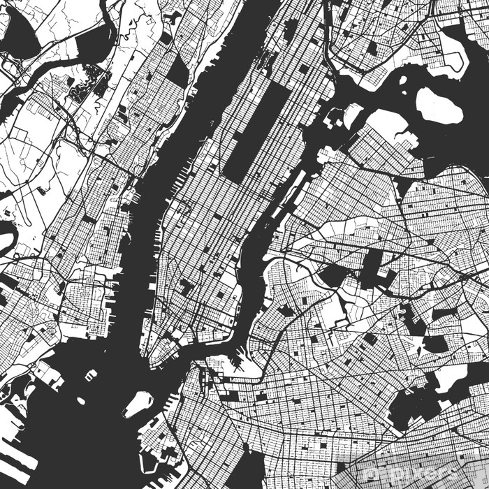 New York City Manhattan One Color Map Vinyl Wall Mural - Graphic Resources