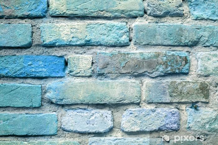 Sticker Pixerstick Vieille brique fond de mur bleu - Ressources graphiques