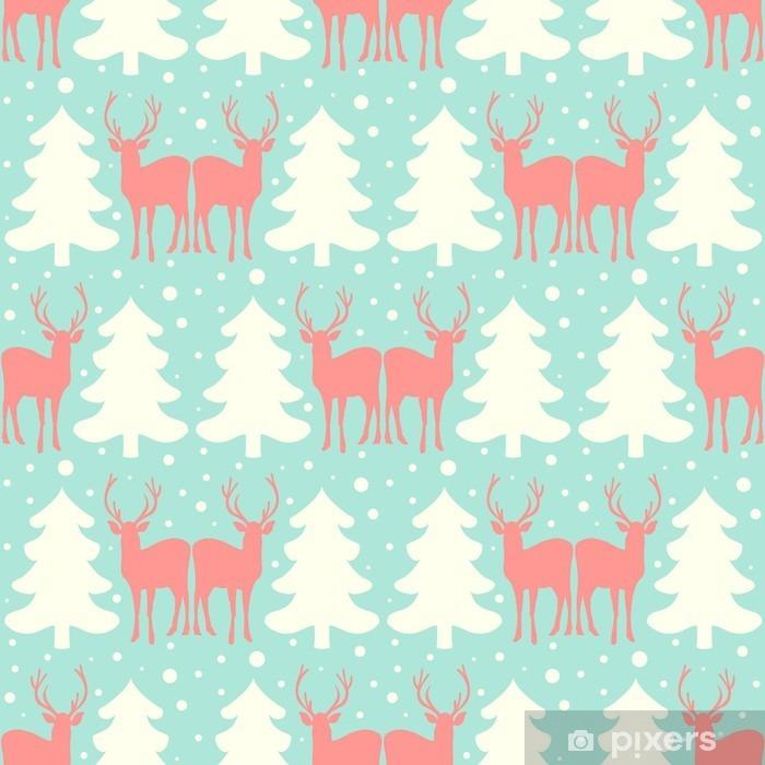 Naklejka Pixerstick Wektor szwu Boże Narodzenie z jelenia. - Zasoby graficzne