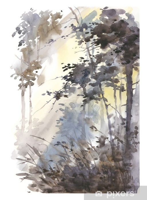 Vinyl Fotobehang Aquarel hand geschilderd abstract landschap, diep bos, drieën in de zon. - Landschappen